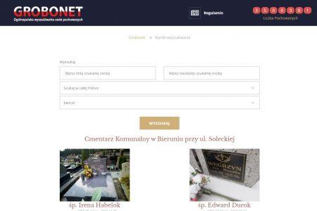 Strona internetowa cmentarza komunalnego w Bieruniu przeszła metamorfozę