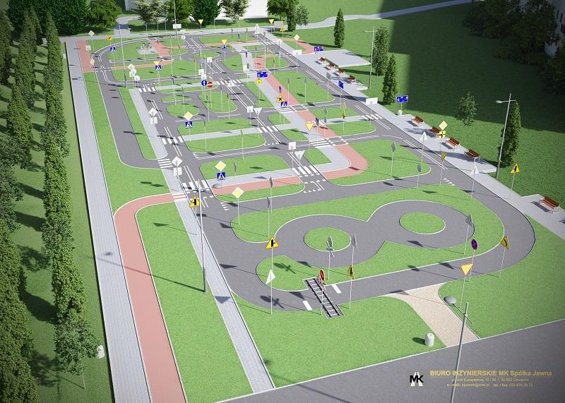 wizualizacja miasteczka ruchu drogowego